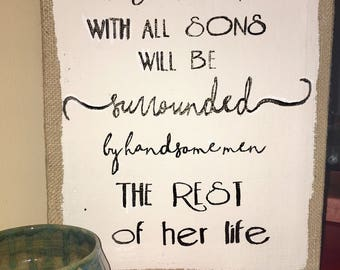 Wall decor- a mother with all sons- sign- sign decor