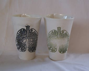 Large ceramic lungs tumbler/cup for tea, coffee or cold drinks