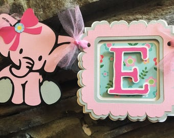 Elephant baby shower banner, baby shower banner elephant theme, baby shower banner for a girl, baby shower  banner elephant decoration