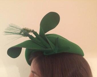 Green Wool Vintage Headpiece