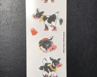 Sandylion Stickers Vintage Fuzzy Cow, Cows  (1 strip)