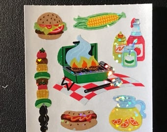 Sandylion Stickers Vintage, Scrapbooking Glittery BBQ Food, Hot dog, Hamburger, Corn  (1 mod)