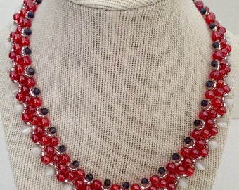 Red Beaded Statement Necklace, Beaded Necklace, Unique Necklace, Red Necklace