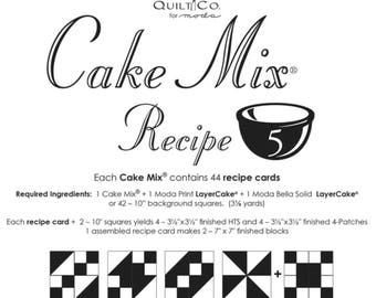 Cake Mix Recipe 5 by Miss Rosie's Quilt Co. for Moda Fabrics - Each Recipe Pad contains 44 Recipe Cards