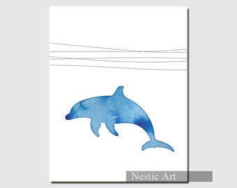dolphin、blue, silhouette, animal, ocean, waves, home decor, water, blue water