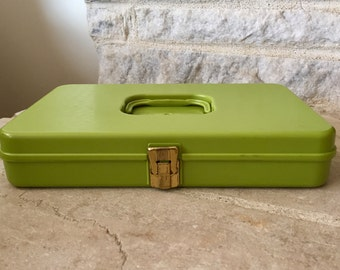 vintage sewing box thread storage avocado green wilson manufacturing wil-hold