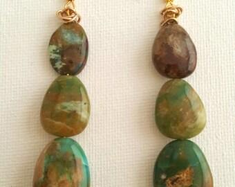 Peruvian Opal Earrings, Gem Stone Earrings ,Oval Dangle Earrings,Woman's Gift