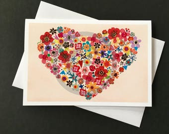 Love Card- Heart of Flowers
