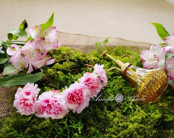 Love Story Pink Rose Flower Crown, Brides, Bridesmaids or Flower Girls Headband,Rose Floral Crown