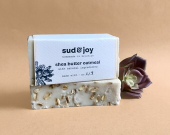 exfoliating shea butter oatmeal soap / homemade soap / bar soap / natural soap / hand soap / body soap / bath soap / valentines day gift