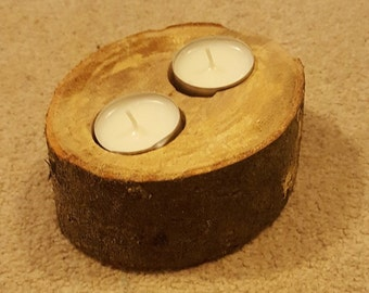12cm Wide Reclaimed Rustic Natural Log Tealight Candle Holder - with bark still on the outside for a real rustic look