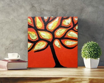 Canvas Abstract Painting for Living Room, Canvas Wall Art Tree, Modern Art Textured Painting, Impressionists Painting, Impasto Tree Art