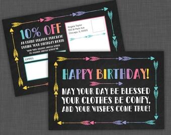 Lula Birthday Postcard, Birthday coupon, Lula card, discount, coupon - Chalkboard Arrow - PRINTABLE