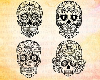 Sale! Sugar skull svg files for printing and cutting -  Sugar Skulls Clipart - Cricut cameo Silhouette cutting files