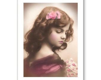 Personalised Handmade Greetings Card ~ Vintage Postcard of A Child  #19