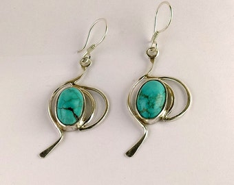 Earrings sterling silver made from 925 sterling silver and Howlite natural gemstone handmade Dangle style