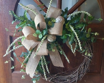 Everyday Grapevine Wreath with Draping Greenery and Burlap Bow