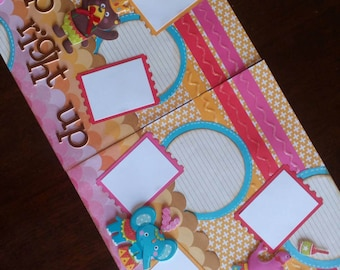 Premade 12 x 12 scrapbook page, Circus scrapbook page, Elephant scrapbook page, Children's scrapbook page, Double Page layout, Premade page