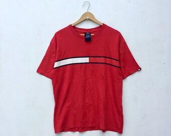 Sale 15% Vintage Rare TOMMY HILFIGER Red T-Shirt Tommy Line Streetwear Size S #129