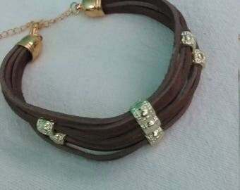 Brown Leather Bracelet with Gold Tone Beads