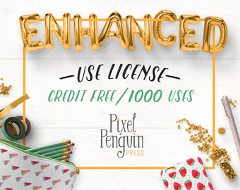 Enhanced Use License, No Credit Extended License for Commercial Use of Digital Pattern Papers and Clip Art, 1000 Uses