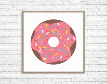 Pink Glazed Sprinkle Doughnut, Single  // 8x10 16x20 Printable // Instant Download // Donut // Foodie