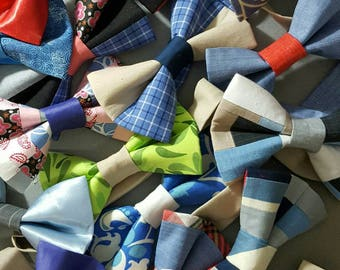 BOW TIES Any size possible.Velcro closure Mens and kids sizes Custom as well.Custom bows for the ladies.free shipping