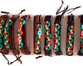 Rasta 420 Mens Womens Leather Pot Leaf Adjustable Bracelet