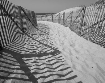Cape Cod Beach black and white photography fine art photograph Hyannis Massachusetts Cape Cod New England home decor wall decor sand print