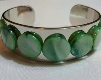 Green Cuff Bangle Bracelet