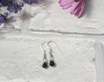 Garnet and Glass Bead Sterling Silver Drop Earrings