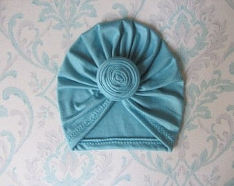 Blue Meadow Top Knot Turban Hat