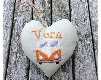 VW Campervan Personalised embroidered Linen Hanging Keepsake Heart, Gift Idea, campervan accessories, campervan decor, birthday gift