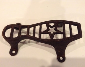 Vintage Cast Iron Shoe Shine Foot Rest with a Star Pattern Design for Home Décor or Repurposed