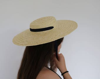 Handmade straw hat, Straw Boater woman hat, summer hat, spring hat, Wedding Hat.