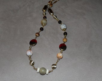 Gemstone, Glass Goldtone Necklace