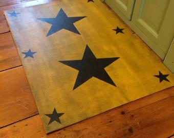 """Ochre Yellow Primitive Star Floor Cloth Doormat 24""""x36"""" floorcloth"""