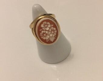 Cameo ring Silver 925 gilt