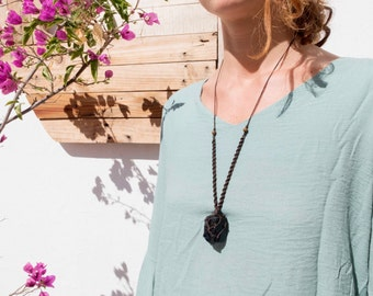Adjustable necklace with Obsidian