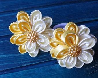 yellow spring kanzashi flowers hair tie