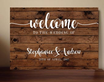 Rustic wedding outdoor wedding welcome sign floral wedding stationery