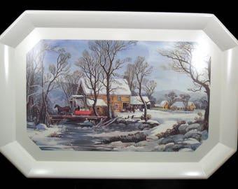 Tray Currier & Ives Brookpark Vintage Winter Scene #1520 Melamine / Melmac