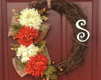 Monogrammed Floral Fall Wreath