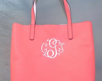 Monogrammed Faux-Leather Tote Bag in Coral, Mint Green
