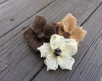 Small Rustic Burlap Flowers with Button ~ Set of Two ~ Customizable! ~ Vintage ~ Wedding Decor ~ Home Decor