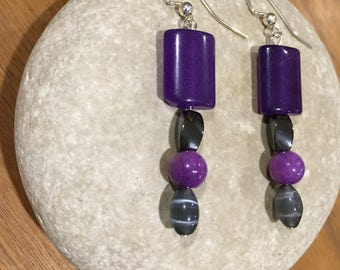 Bright purple & hematite/gray earrings