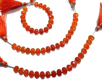 AAA Grade CARNELIAN Faceted Oval shape beads, Size 6*8 mm, 8 inches Strand Length, Super Quality gemstones for Jewellery