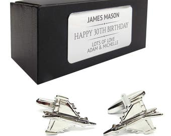 Fighter jet airplane aeroplane CUFFLINKS 30th, 40th, 50th, 60th, 70th birthday gift, presentation box PERSONALISED ENGRAVED plate - 180