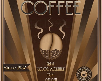 Coffee Art Deco Poster