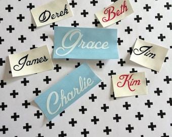 Custom Name Decals, Wedding Name Decals, Wine Glass Name Decals, Fancy Name Decals
